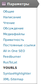 Меню плагина Yourls wordpress to twitter